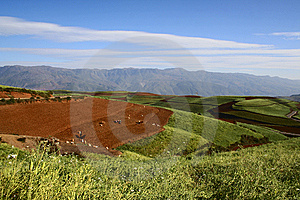 The Red Soil Of Dongchuan Royalty Free Stock Photo - Image: 8628585