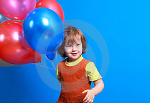 Little Girl Holding Balloons Royalty Free Stock Photo - Image: 8629295