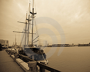 Wooden Sailing Ship In Port Royalty Free Stock Photos - Image: 8629348