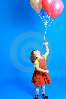 Little Girl Holding Balloons Stock Photography - Image: 8629362