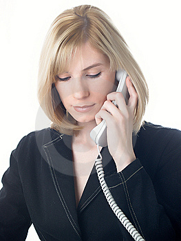 The Girl Speaks On The Phone Royalty Free Stock Images - Image: 8629469