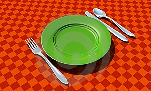 Knife, Fork, Spoon And Plate With Table Coth Royalty Free Stock Photos - Image: 8629668