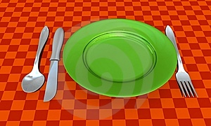 Knife, Fork, Spoon And Plate With Table Coth Stock Images - Image: 8629674