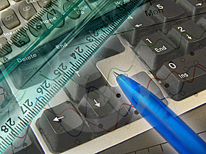 Graphic, Pen, Ruler And Keyboard, Collage Royalty Free Stock Photography - Image: 8630167