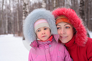Mother With Child  In Winter Stock Photos - Image: 8631903