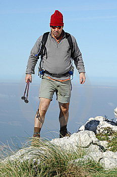 Man In A Top Of A In Mountain Hiking Royalty Free Stock Photography - Image: 8632217