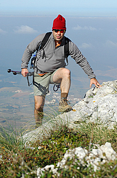 Man In A Top Of A In Mountain Hiking Royalty Free Stock Images - Image: 8632219
