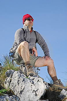 Hiking On The Top Of A Mountain Royalty Free Stock Photo - Image: 8632235