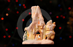 Toy Small House With Santa Claus Stock Photos - Image: 8632533