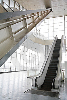 Glass Hall With Escalator Royalty Free Stock Photography - Image: 8633117