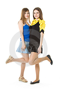 Two Girls With Raised Leg Stock Photo - Image: 8633410