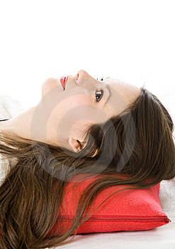 Young Woman On Red Pillow Stock Photography - Image: 8633442