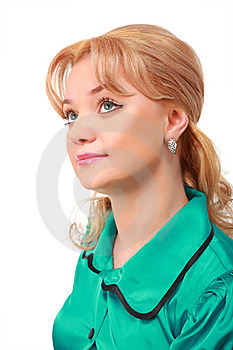 Young Blonde In Green Dress Stock Photos - Image: 8633543
