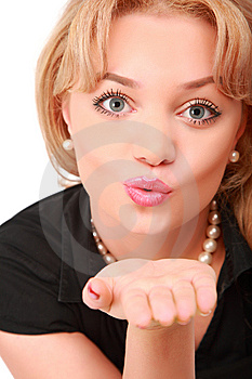 Blonde Blows On Palm Stock Photography - Image: 8633622