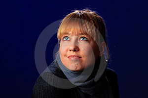 Female On A Blue Royalty Free Stock Photo - Image: 8634105