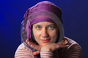 Female On A Blue Royalty Free Stock Photography - Image: 8634137