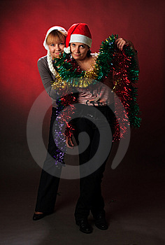 Two Woman Wearing A Santa Hat Stock Image - Image: 8634151