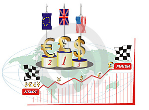 World Currency Competition Royalty Free Stock Images - Image: 8634239