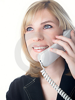 The Girl Speaks On The Phone Stock Photo - Image: 8634530