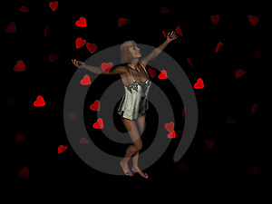 Woman Surrounded By Falling Hearts. Royalty Free Stock Photography - Image: 8634687
