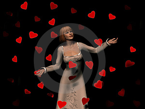 Woman Surrounded By Falling Hearts Royalty Free Stock Image - Image: 8634696