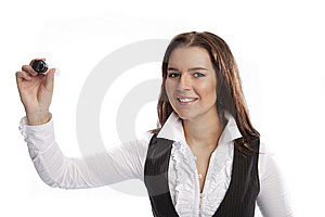 Business Woman Hoding Marker Royalty Free Stock Images - Image: 8635279