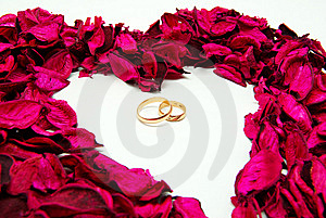 Wedding Rings In Red Rose Petals Stock Photos - Image: 8635323