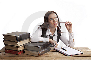 Business Woman Thinking Stock Image - Image: 8635561