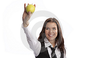Business Woman Holding Apple Stock Image - Image: 8635651