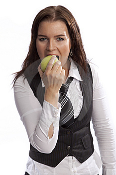 Business Woman Eating Apple Stock Photos - Image: 8635693