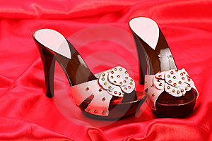 Woman Shoes On Satin Royalty Free Stock Photography - Image: 8635827