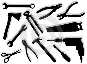 Tools Silhouettes Stock Images - Image: 8635904