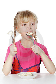 A Girl Eats Meat Dumplings Royalty Free Stock Photos - Image: 8636008