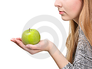 Woman Holding Fresh Green Apple Royalty Free Stock Photography - Image: 8636027