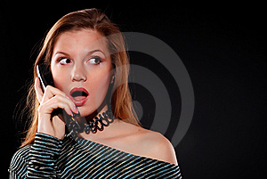 Woman With Telephone Receiver Stock Photo - Image: 8636070
