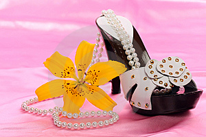 Woman Shoes On Satin Royalty Free Stock Image - Image: 8636116