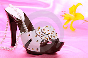 Woman Shoes On Satin Stock Photo - Image: 8636140