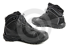 Two Black Men's Winter Boots On White Royalty Free Stock Images - Image: 8636189