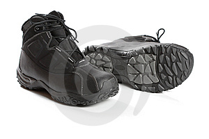 Two Black Winter Boots Stock Image - Image: 8636261