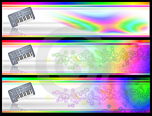 Psychedelic Retro Keyboard Music Banners Royalty Free Stock Photos - Image: 8636728