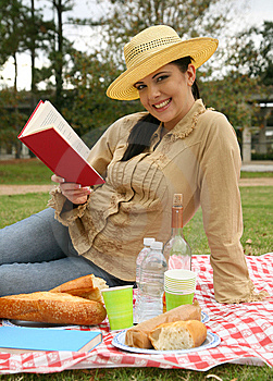 Beautiful Woman Reading Book Outdoor Stock Photo - Image: 8638180