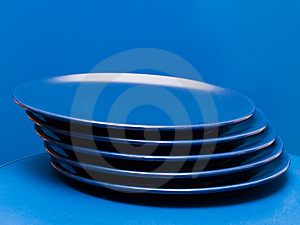 Stack Of Blue Plates 2 Royalty Free Stock Image - Image: 8639106