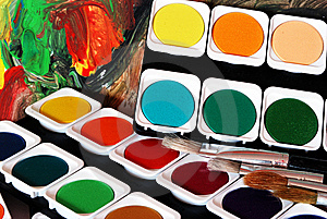 Brushes And Colors Stock Images - Image: 8639424