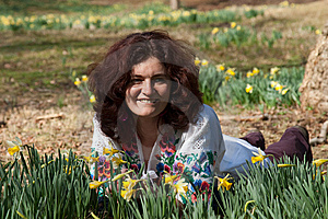 Smiling Girl On A Daffodil Meadow Stock Photography - Image: 8639632
