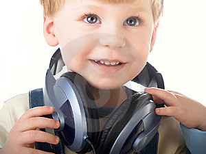 The Child In Headphones Royalty Free Stock Image - Image: 8639796