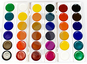 The Big Set Of Water Colour Paints Royalty Free Stock Photo - Image: 8640685