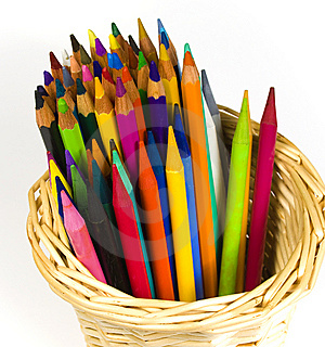 Set Of Color Wooden And Woodless Pencils Royalty Free Stock Image - Image: 8641156