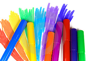Seven Felt-tip Pens Royalty Free Stock Images - Image: 8641319