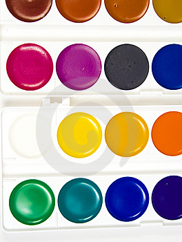 Sixteen Different Shades Of Water Colour Paints Royalty Free Stock Photo - Image: 8641395