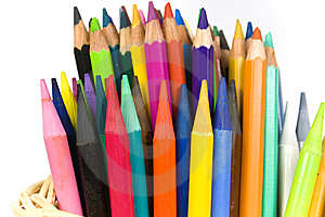 Set Of Color Wooden And Woodless Crayons Stock Images - Image: 8641404